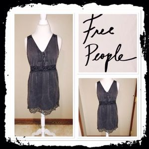 FREE PEOPLE Denim Lacy Black Midi Dress SZ 4